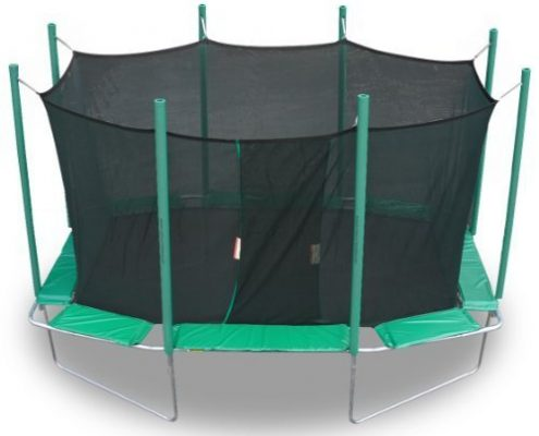 Green, octagonal trampoline with black safety net enclosure