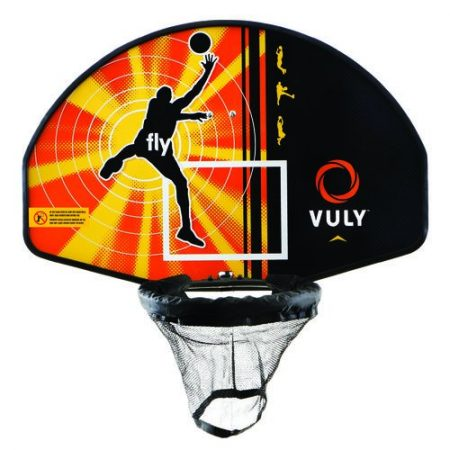 Close up look at a Vuly Basketball hoop with orange backboard and black rim