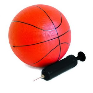 A small orange basketball with black pump