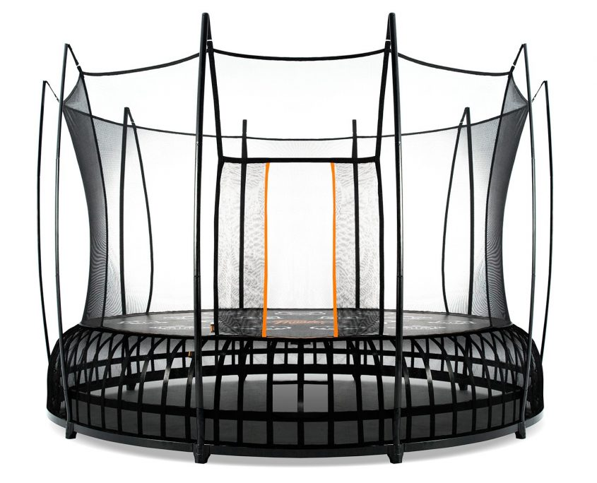 A 14 foot XL Vuly Thunder trampoline with black base and orange accent