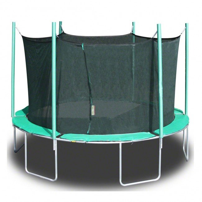 A green Air Trampoline, round with net on a white background