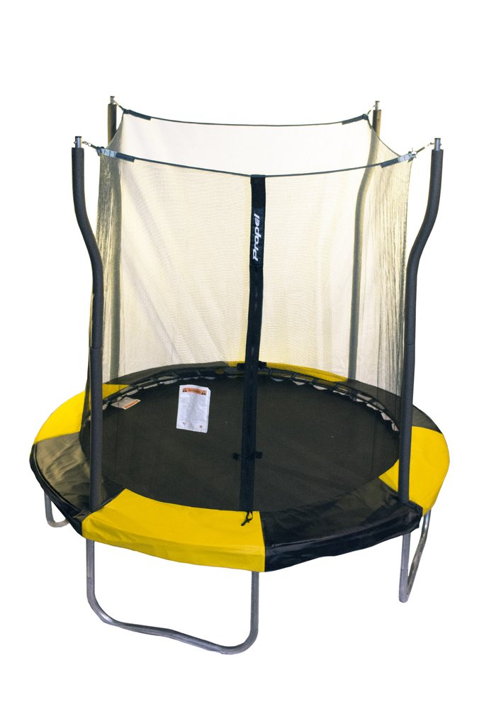 A small, seven foot, yellow and black kids trampoline with safety net