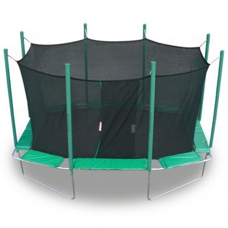A green, rectangle Magic Circle trampoline with safety net enclosure against a white background