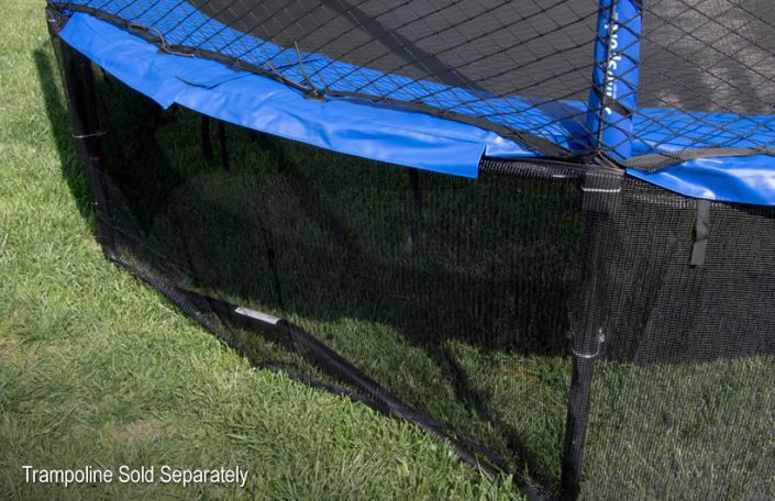 close up image of a blue trampoline pad and a black mesh safety skirt