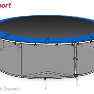 illustration of jumpsport safety skirt installed on a 14 foot trampoline frame