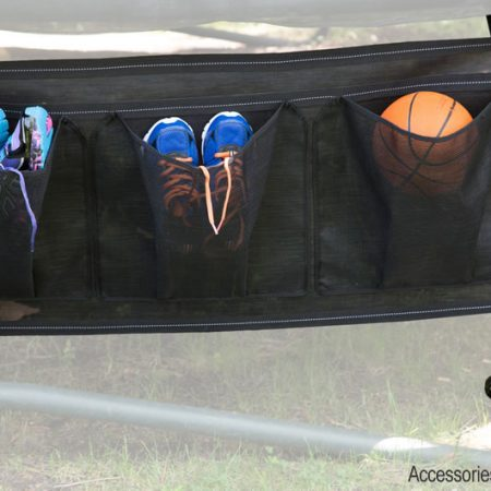 shoes in a trampoline shoe bag attached to the frame