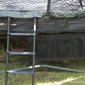 A trampoline, ladder, and shoe bag attached to the frame