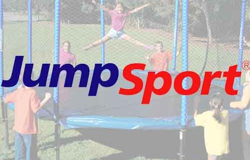 The JumpSport logo over a picture of a girl jumping on the trampoline