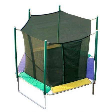 A small, colorful trampoline with net on white background