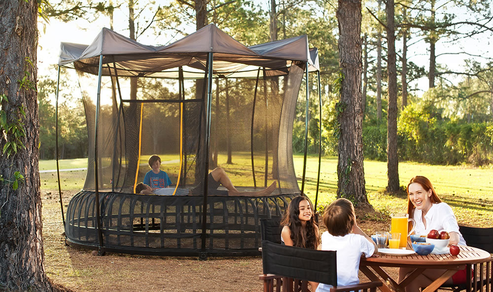 The inside of a vuly tent A mother and two kids sit at a c&ing table in the woods next to their ... & Vuly Thunder Trampoline - Tent | Air Trampolines