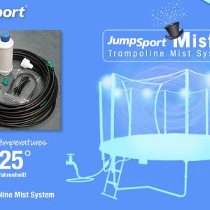 a diagram of the jumpsport mister spraying a 14' trampoline with water