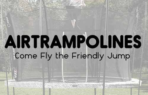 The AirTrampolines logo against a blurred picture of a girl jumping on a Vuly 2 trampoline