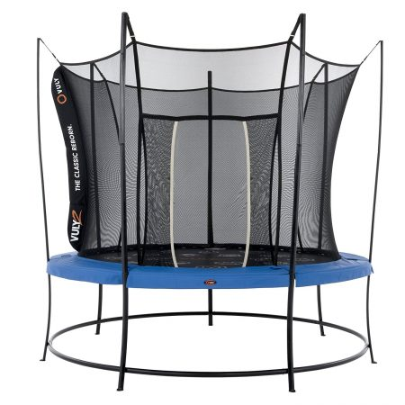 A 10 foot Vuly 2 trampoline with black base, blue safety pad, and black safety enclosure