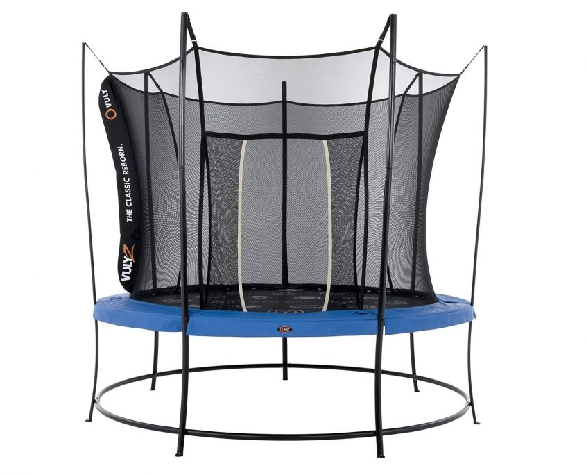 A 12 foot Vuly 2 trampoline with black base, blue safety pad, and black safety enclosure