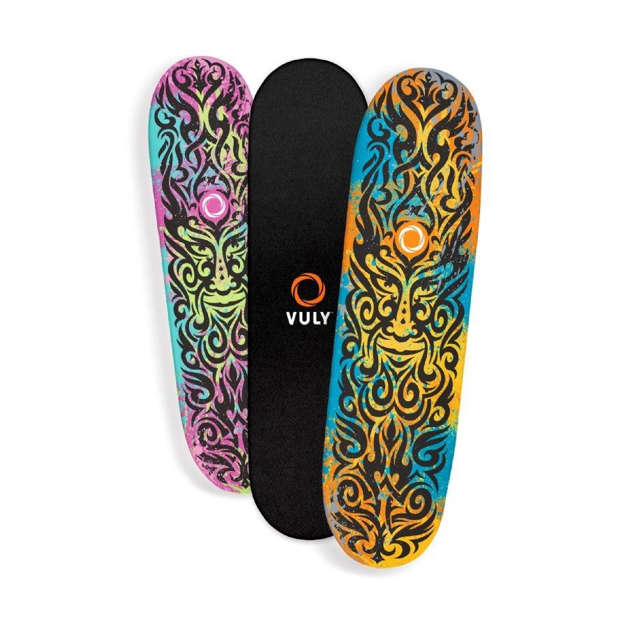 Three Vuly Skate Decks stacked side-by-side against a white background