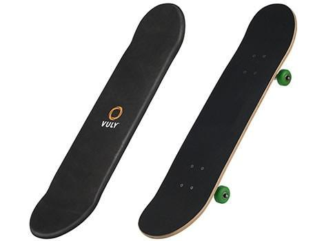 Two Vuly skate decks, one with wheels and the other without
