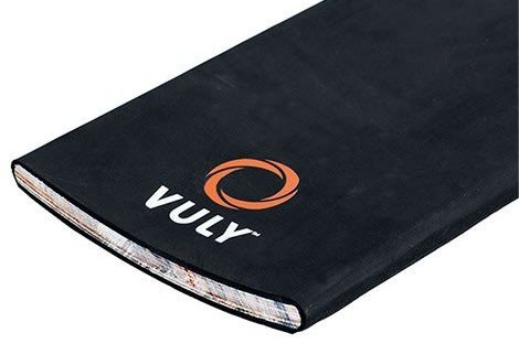 A crosss-section of a Vuly Skate Deck, black with logo