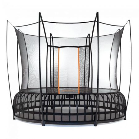 A 12 foot large Vuly Thunder trampoline with black base and orange accent