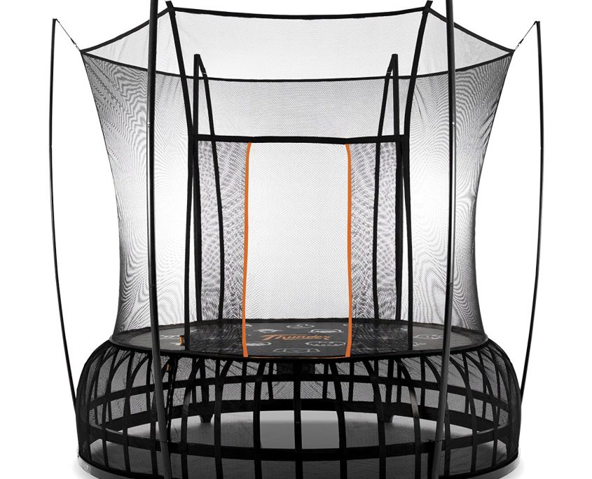 A 10 foot medium Vuly Thunder trampoline with black base and orange accent