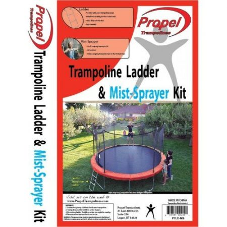 A graphic of a combination trampoline ladder and mist-sprayer kit