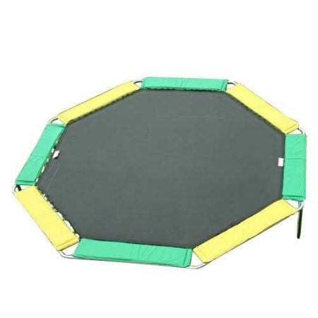 a green and yellow trampoline without safety enclosure against a transparent background
