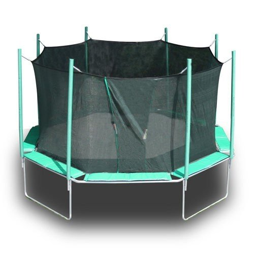 An octagon shaped, green Magic Circle trampoline with safety net against a white background