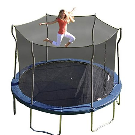 Blond mom jumping on blue Propel trampoline with safety net