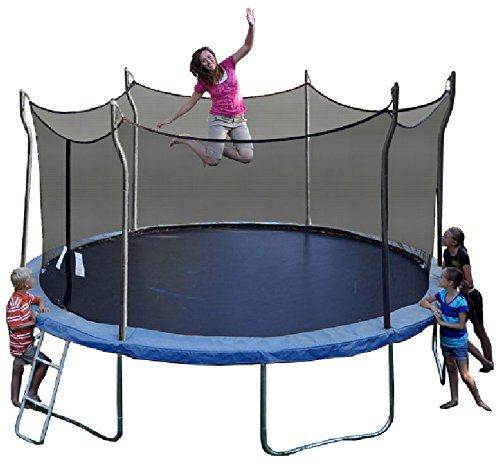 Brunette mom, with kids watching, jumps on a blue Propel Trampoline against white background