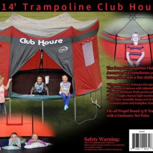 14 foot red trampoline club house