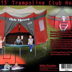 15 foot red trampoline club house