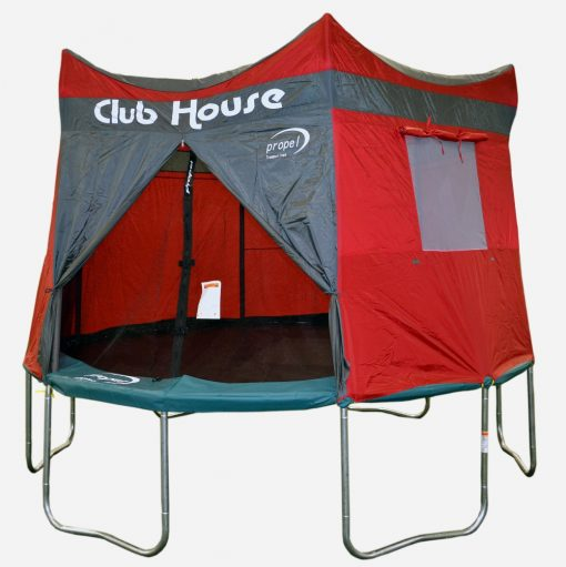 A red tr&oline clubhouse on a Propel tr&oline against a white background & Propel Trampoline Club House Tent | Air Trampolines