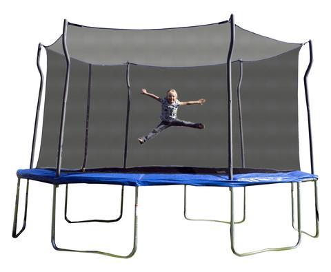 Little girl jumps on blue tramp