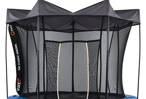 Image of Vuly 2 Tent installed on a blue trampoline